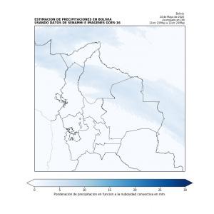 Monitoreo con imágenes satelitales.- Se observa probabilidad de precipitaciones en el departamento de Beni, al norte de los departamentos de Santa Cruz y La Paz con montos acumulados bajos.
