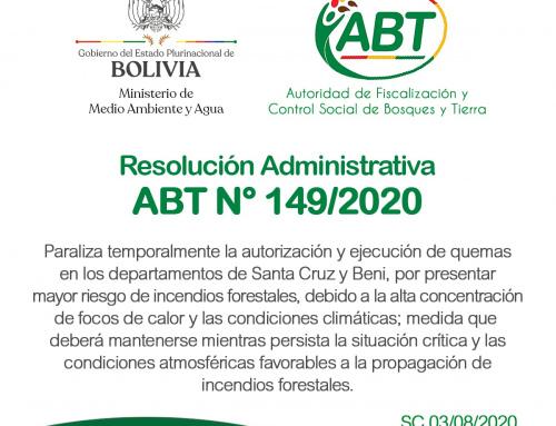 Resolución Administrativa ABT N°149/2020 de paralización temporal de autorizaciones y ejecución de quemas en Santa Cruz y Beni