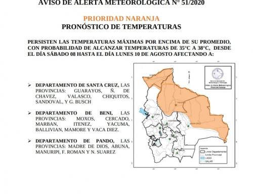 Aviso meteorológico, alerta naranja por ascenso de temperaturas en Santa Cruz, Pando y Beni