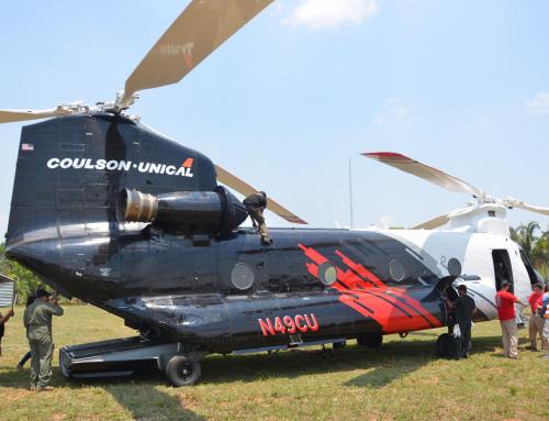 Helicóptero Chinook opera por tercer día consecutivo en el combate al fuego en Santa Cruz