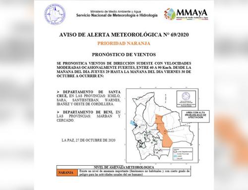 Aviso meteorológico, alerta prioridad naranja por vientos en Santa Cruz y Beni