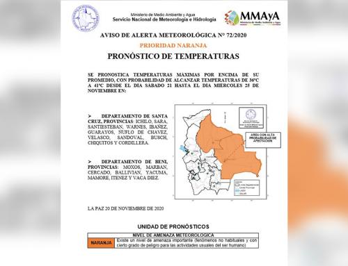 Aviso meteorológico, alerta prioridad naranja por ascenso de temperaturas en Santa Cruz y Beni