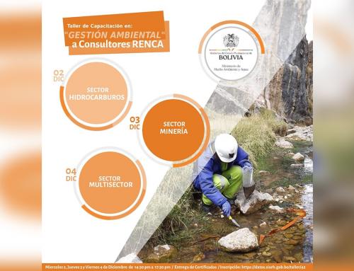 MMAyA te invita a participar del Taller de Capacitación en Gestión Ambiental a Consultores RENCA