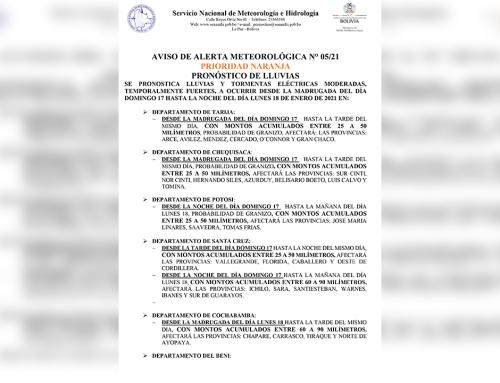 Aviso meteorológico, alerta prioridad naranja por lluvias y tormentas eléctricas en Tarija, Chuquisaca, Potosí, Santa Cruz, Cochabamba, Beni, La Paz y Pando