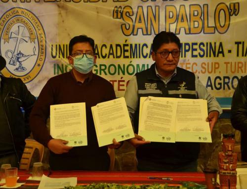 Se realizó la firma de convenio académico entre El MMAyA y las Unidades Académicas Campesinas de la Universidad Católica San Pablo en el municipio de Tiahuanaco