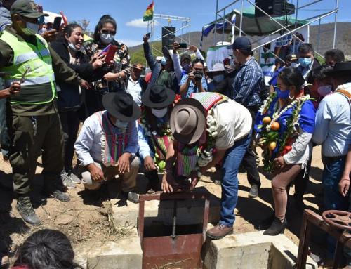 El gobierno nacional entrego el proyecto de Mejoramiento de Canales de riego en la Comunidad de Palizada en el municipio de Comarapa